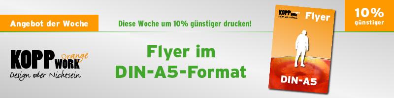 Angebot der Woche - Flyer im DIN-A5 Format um 10% günstiger drucken lassen