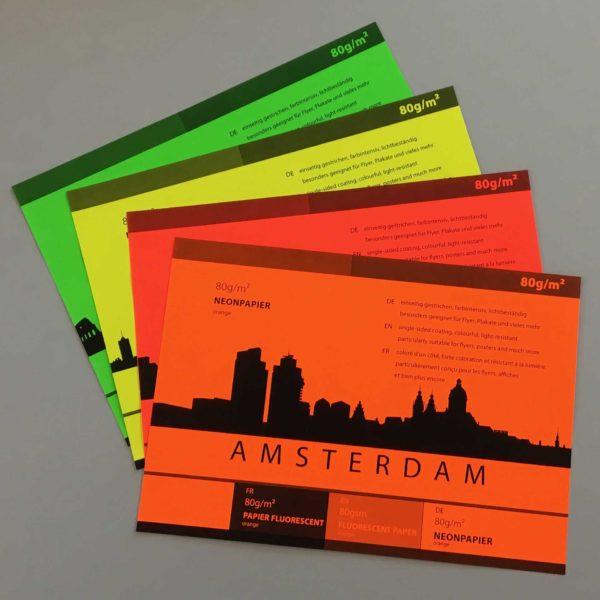 Neonpapier in vier Sorten: Grün, Gelb, Rot und Orange
