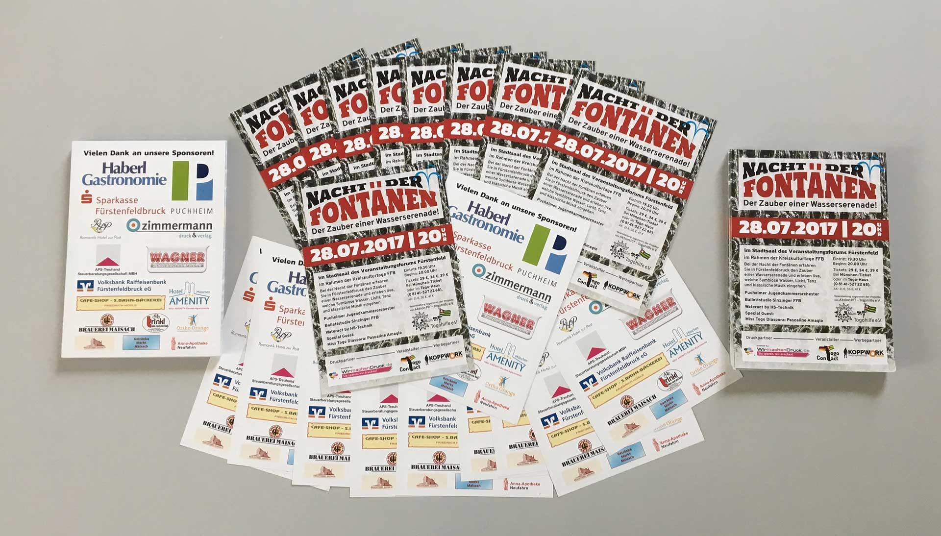 Die DIN-A6-Flyer für die Nacht der Fontänen