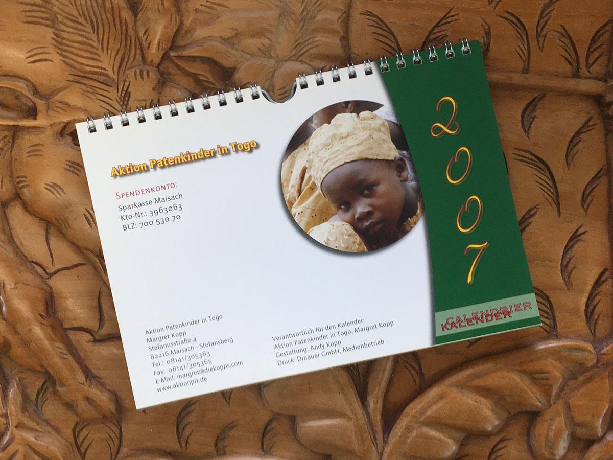 Das Schluss-Blatt des Togo-Kalenders von 2007