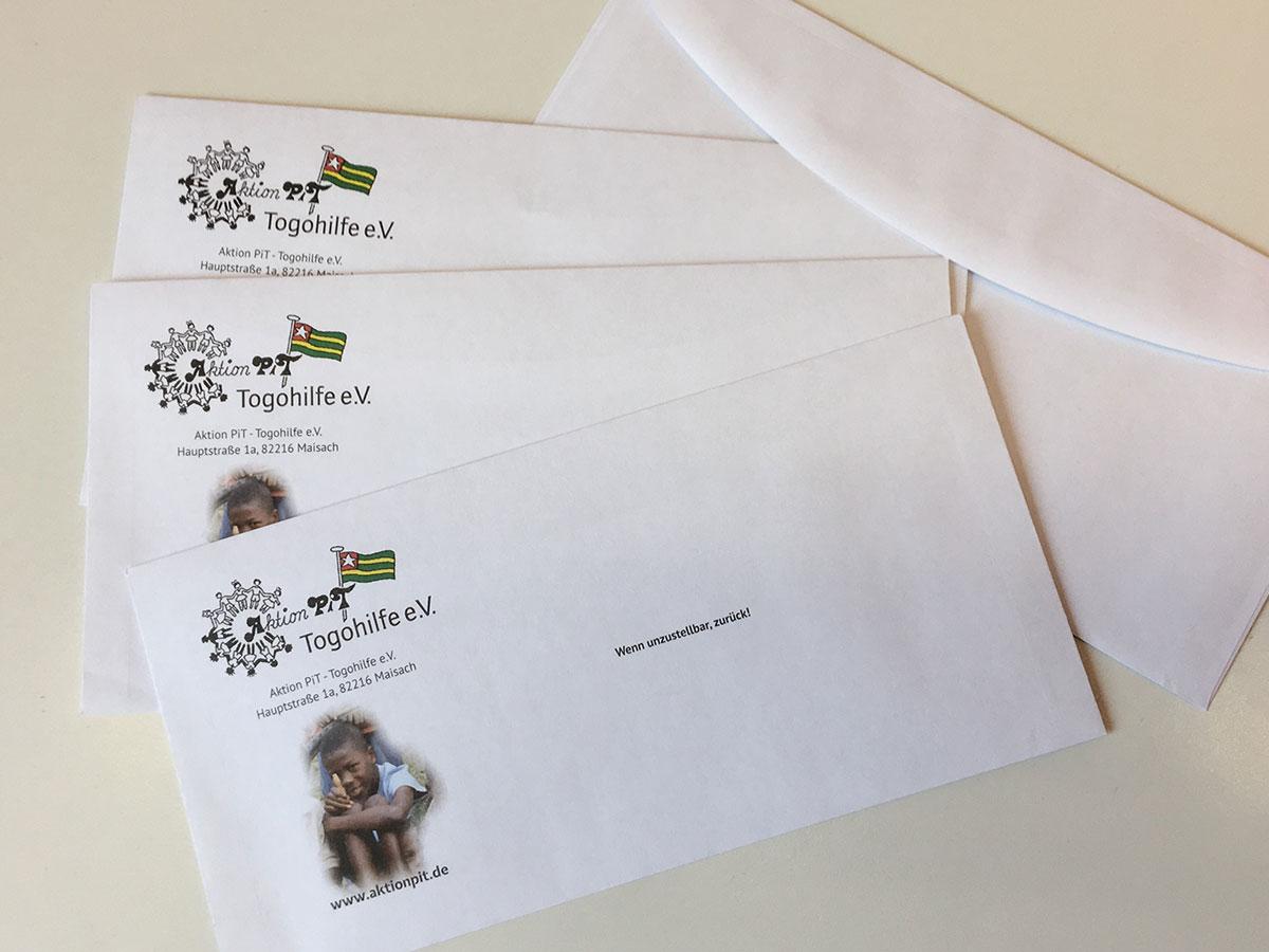 Briefhüllen für Aktion PiT - Togohilfe e.V.