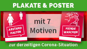 Plakate mit Motiven zur Corona-Situation