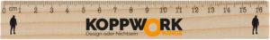 Holzlineal mit dem KoppWork Orange Logo